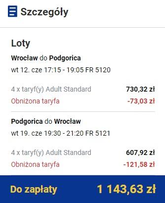 Czarnogóra lot